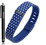 Emilys Blue Dots Polka Dots New Style Multicolor Combinational Replacement Bands with Metal Clasps for Fitbit Flex Only No Tracker/ Wireless Activity Bracelet Sport Wristband Fit Bit Flex Bracelet Sport Arm Band Armband