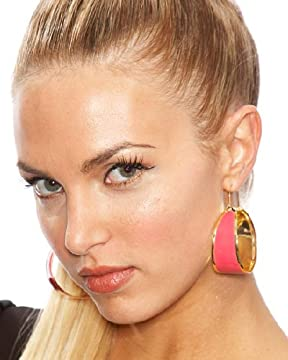 Enamel Flat Hoop Earrings from bebe.com