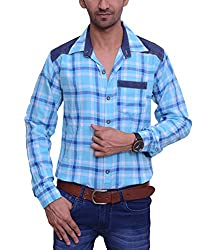Ballard Men's Casual Shirt (BCS0001_Blue_42)