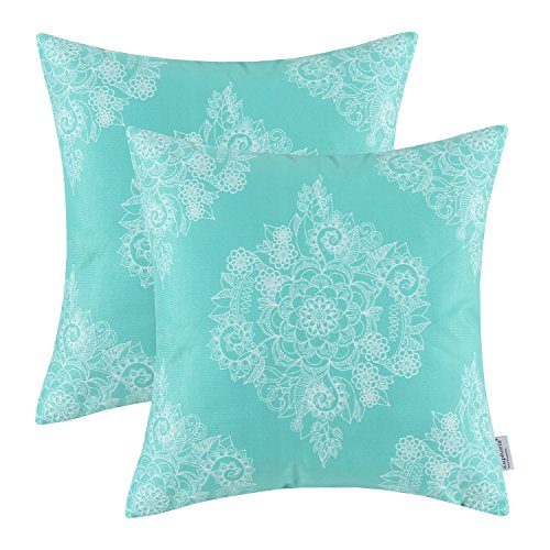 Pack of 2 Euphoria CaliTime Throw Pillow Covers 18 X 18 Inches, Vintage Floral, Turquoise