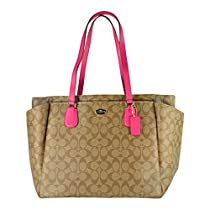 Coach Signature Multifunction Tote and Baby Diaper Bag in Khaki and Pink Ruby