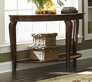 Homelegance schiffer half moon sofa table w for Kitchen table with glass insert