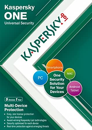 Kaspersky One Universal Security, 5 Device, 1 Year License (PC/Mac/Android)