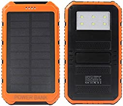 eyeCam DUAL 20000 mAh Solar Ladegerät, spritz & staubresistent inkl superheller Taschenlampe, neue Version 2016, 2A und 1A - Universal externes Akku Batterie Netzteil Power Charger für Smart Phone Handys MP3 Player Navi Ebook reader PDA mini Speaker iPhone, iPad, iPod, Samsung Galaxy, Motorola, HTC, LG, Nokia, Sony Ericsson, Samsung Tab Farbe: Orange (354)