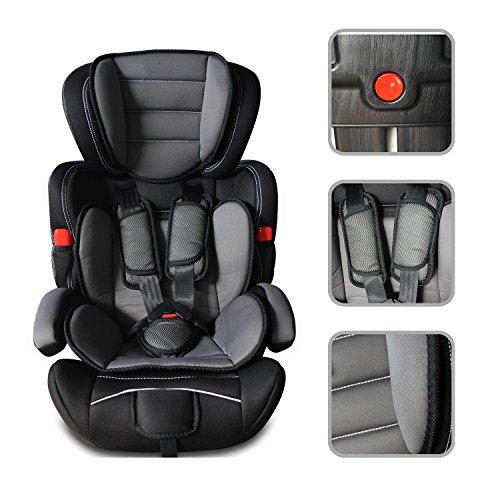 Babyfield - Seggiolone auto a rialzo nero per bambino lotto 1/2/3 - sedile di sicurezza da 9kg a 36kg