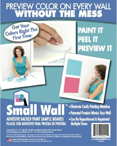 Small Wall SW001-1212-2PK 12-Inch by 12-Inch Adhesive Backed Paint Sample Board, 2-Count
