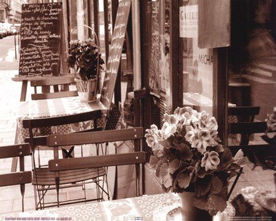 Tables In Restaurant With Flowers by Francisco Fernandez 9.75X7.75. Art Poster Print