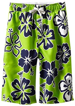 Wes and Willy Big Boys' Skull Hibiscus Swim Trunk, Lime, Small