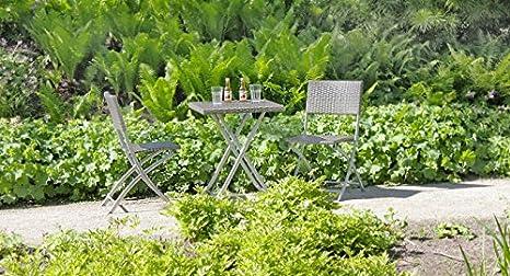 Balkon-Set - Tisch - 2 Stuhle, Poly-Rattan - dunkelgrau