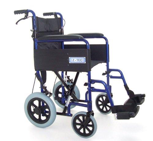 Z-TEC - Lightweight Folding Transit Wheelchair With Brakes In Metallic Blue.
