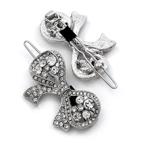 2 Clear Crystal Metal Snap Ribbon Shaped Hair Barrette Clips