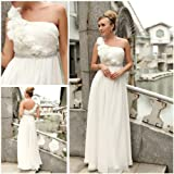 Elegant Floral One Shoulder Chiffon Beaded Evening Dress, Wedding Dress, Bridal Gowns, 38805 L