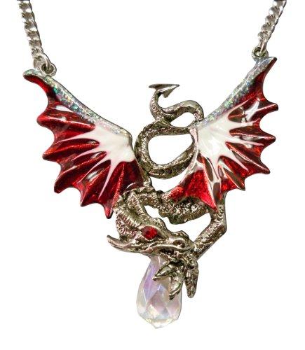 Crimson Dragon Holding Faceted Crystal Medieval Renaissance Pendant Necklace