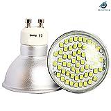 10* GU10 LED Bulbs Clear Glass Cover Cool white 60 SMD-3528 Energy Save LED Lighting Bulbs 4W High Lumen 300-350LM AC195-240V