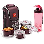 Cello Classy Plastic Lunch Box With Bag Set, 7-Pieces, Brown/Pink