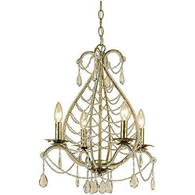 AF Lighting 7008-4H Belinda Candle Base Mini Chandelier, Soft Gold with Glass Accents