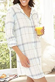 Cotton Rich Turn-Up Sleeve Check Nightshirt [T37-8102-S]