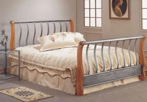 sleigh bed frames full size carving on metal bed w wood headboard and footboard. Black Bedroom Furniture Sets. Home Design Ideas