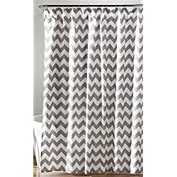 "Lush Decor Chevron Shower Curtain, 72 x 72"", Gray/White"