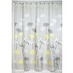 Interdesign Daizy Fabric Shower Curtain Gray And Yellow 72 Inch By 84 Inch