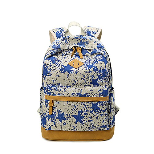 BLUBOON School Backpack for Girls/Boys Cute Canvas Student Girls Vintage Bags Travel Backpack Bookbag(Blue)