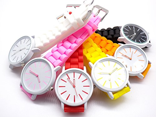 Simple colorful fashion Silicon watchbands Watch (white)