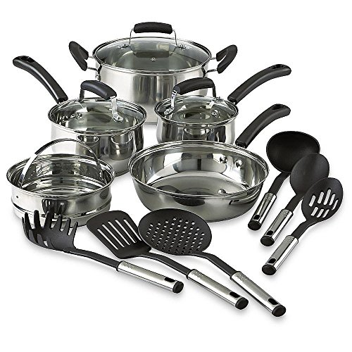 14 Piece Stainless Steel Nonstick Cookware Piece Set Pots Pans Kitchen Cooking (All Clad Dutch Oven Nonstick compare prices)