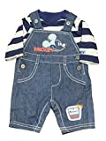 Disney Mickey Mouse Infant Boys Park Ranger Striped Shirt & Blue Overalls Set