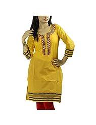 Fashion Freaks Yellow Cotton Embroidered Round Neck Kurti - B00R7O6VVY