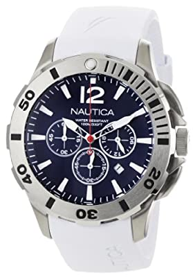 Click for Nautica Men's N16568G BFD 101 White Resin and Blue Dial Watch