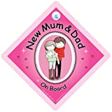 New Mum and Dad Sign New Mum Dad On Board Car Sign PINK Baby on Board Novelty Car Sign Fbaby on board Baby Car Sign New Mum and Dad Sign Bumper Sticker Style Sign New Baby Sign Maternity Car Sign