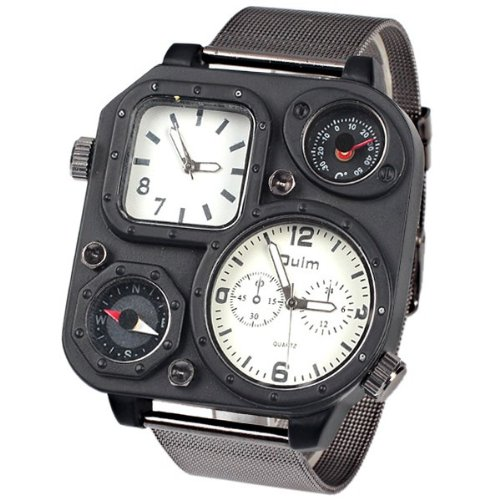 1169 White Reticular Iron Chain Strap Square Double Dial Outdoor Cycling Watches With A Compass And A Thermometer