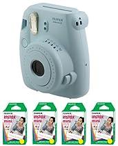 Fujifilm Instax Mini 8 Instant Film Camera Blue + 4 Twin-Pack of Film (80 Prints)