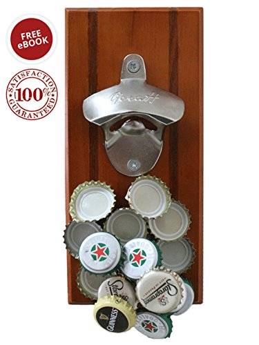 ONE DAY SALE: Magnetic/Wall-Mounted Beverage Bottle Opener with Bottle Cap Catcher for No-Mess Convenience - Easy to Hang and Fun to Use - Bonus eBook and Hardware Included - Premium Quality (Wooden Bottle Opener Magnetic compare prices)