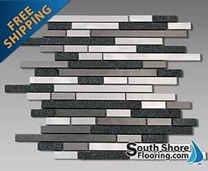 "Metal and Stone Random Strips Backsplash Tile Mosaic 15-1/2""x12"""