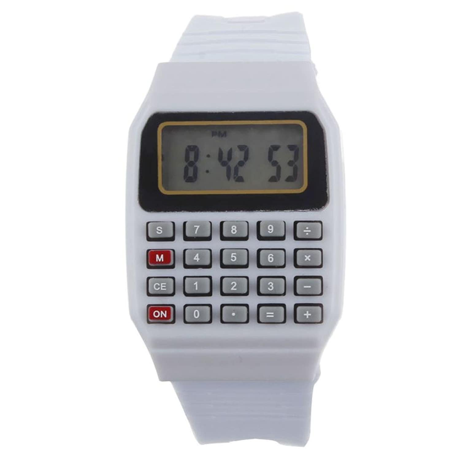 SMTSMT Children Multi-Purpose Time Wrist Calculator Watch- White