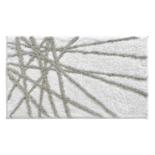 InterDesign Microfiber Abstract Bathroom Shower Accent Rug, 34 x 21, Stone/White