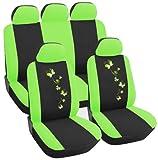 WOLTU AS7258 Auto Sitzbezug , Komplettset , PET , Schonsitz Bezug Set , universal passend , Sitzschutz , Stickerei Butterfly , Super Design , Grün/Schwarz , NEU & OVP