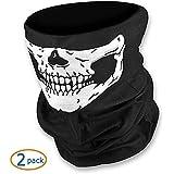 WOVTE® Black Seamless Skull Face Tube Mask - 2 Pack