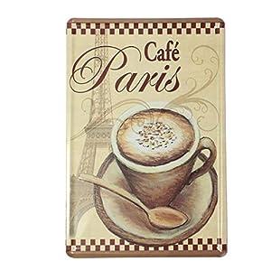 YESURPRISE Europen Vintage Style Metal Advertising Wall Sign Retro Art 20*30cm Coffee Paris from Yesurprise.co.ltd