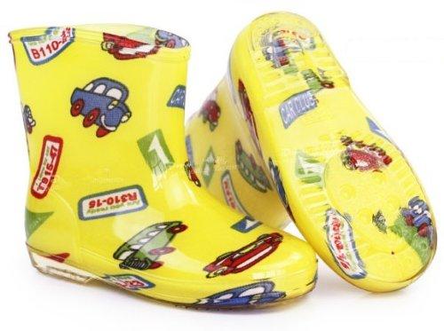 レインブーツ  レインシューズ  キッズ&ベビー&ジュニア(子供用) kids 長靴 ラバーブーツ♪ 男女兼用 長靴 長ぐつ   イエロー車 1セット入れ  並行輸入品