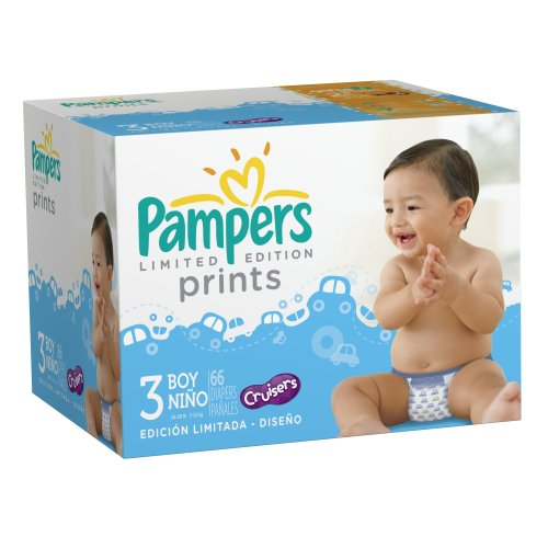 Pampers Limited Edition Prints Diapers for Boys, Size 3, 66 Count - 1