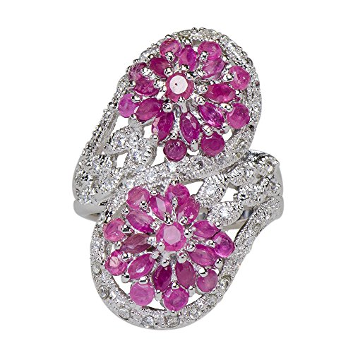 Sensational Natural Ruby Twin Flower Motif Ring 925 Silver