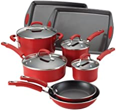 Rachael Ray Porcelain Enamel II Nonstick 12-Piece Cookware Set, Red Gradient