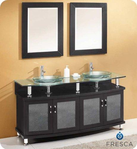 Fresca FVN3310ES Contento 60 Espresso Double Sink Modern Bathroom Vanity with Mirrors