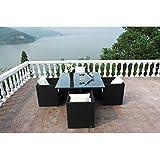 OUTFLEXX Esstischgruppe aus Polyrattan, Stühle kompl. unterstellbar 122x122 in schwarz