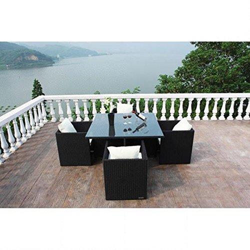 Outflexx Tisch inklusive 4 unterschiebbare Stühl Polyrattan w1, schwarz