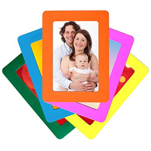 Set of 5 Colorful Magnetic Picture Frames by De Dazzle. Standard 4 x 6 Inch Postcard Size Photo Frames for Refrigerator. Cherish Memories of Family & Friends. Use at Home or Gift to Loved Ones Today! (Picture Fridge compare prices)