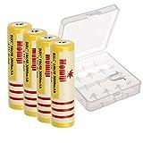 Momiji 高容量充電電池 18650リチウムイオン電池 4本セット 入り 透明な電池ケースー付き 3000mAhバッテリー 充電式電池