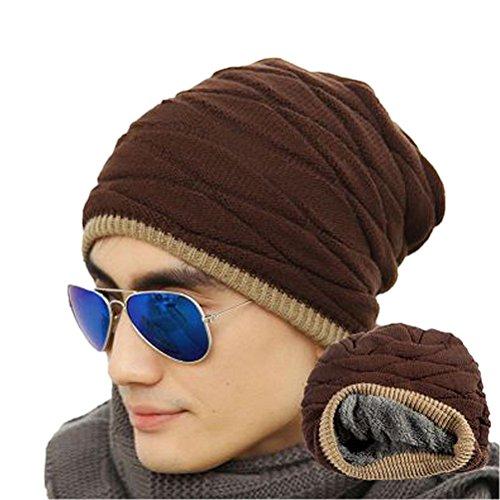ROSENICE Cappelli invernali uomo Soft foderato maglia spessa Skull Cap Berretti Slouchy Hat(Coffee)